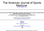 Clinical Outcomes of Mesenchymal Stem Cell Injection With Arthroscopic Treatment in Older Patients With Osteochondral Le…